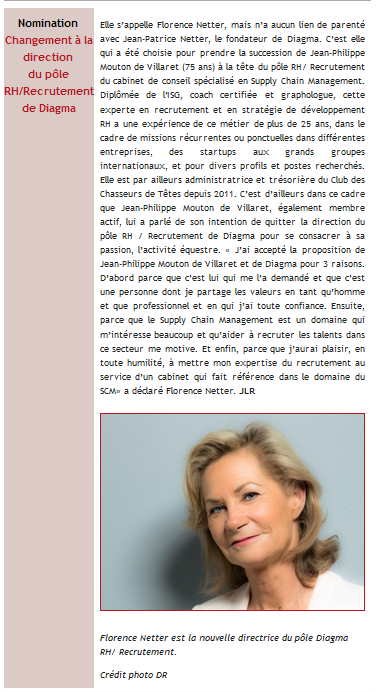 Annonce de la nomination de Florence NETTER dans la Newsletter de Supply Chain Magazine